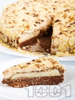 Сладоледена какаова торта с бишкоти и крем от желирано цедено кисело мляко и кондензирано мляко (с желатин) - снимка на рецептата